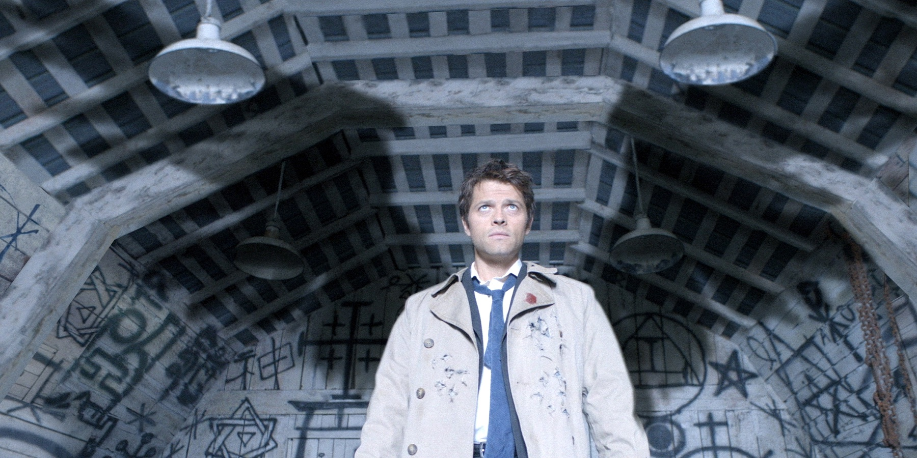 Misha Collins as Castiel and his wings on Supernatural