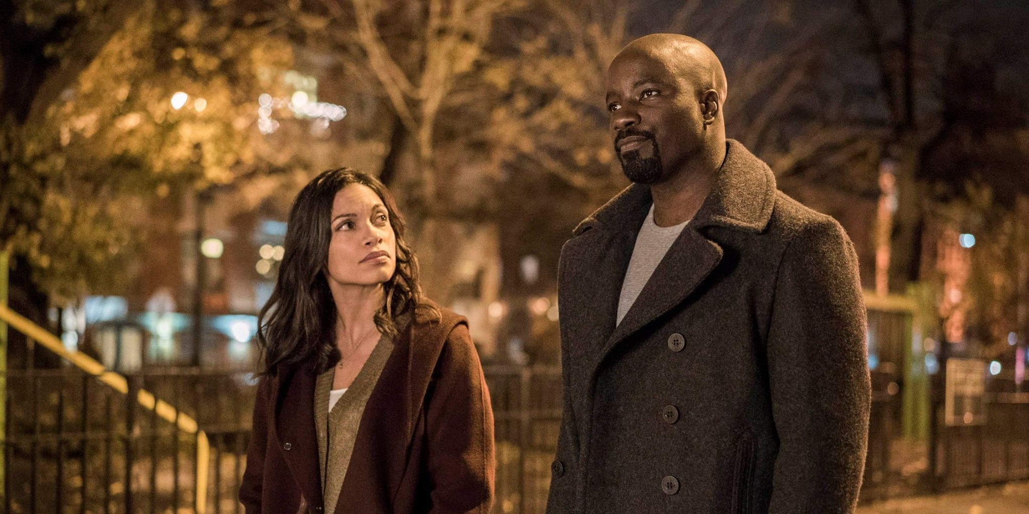 Rosario Dawson and Mike Colter as Claire Temple and Luke Cage
