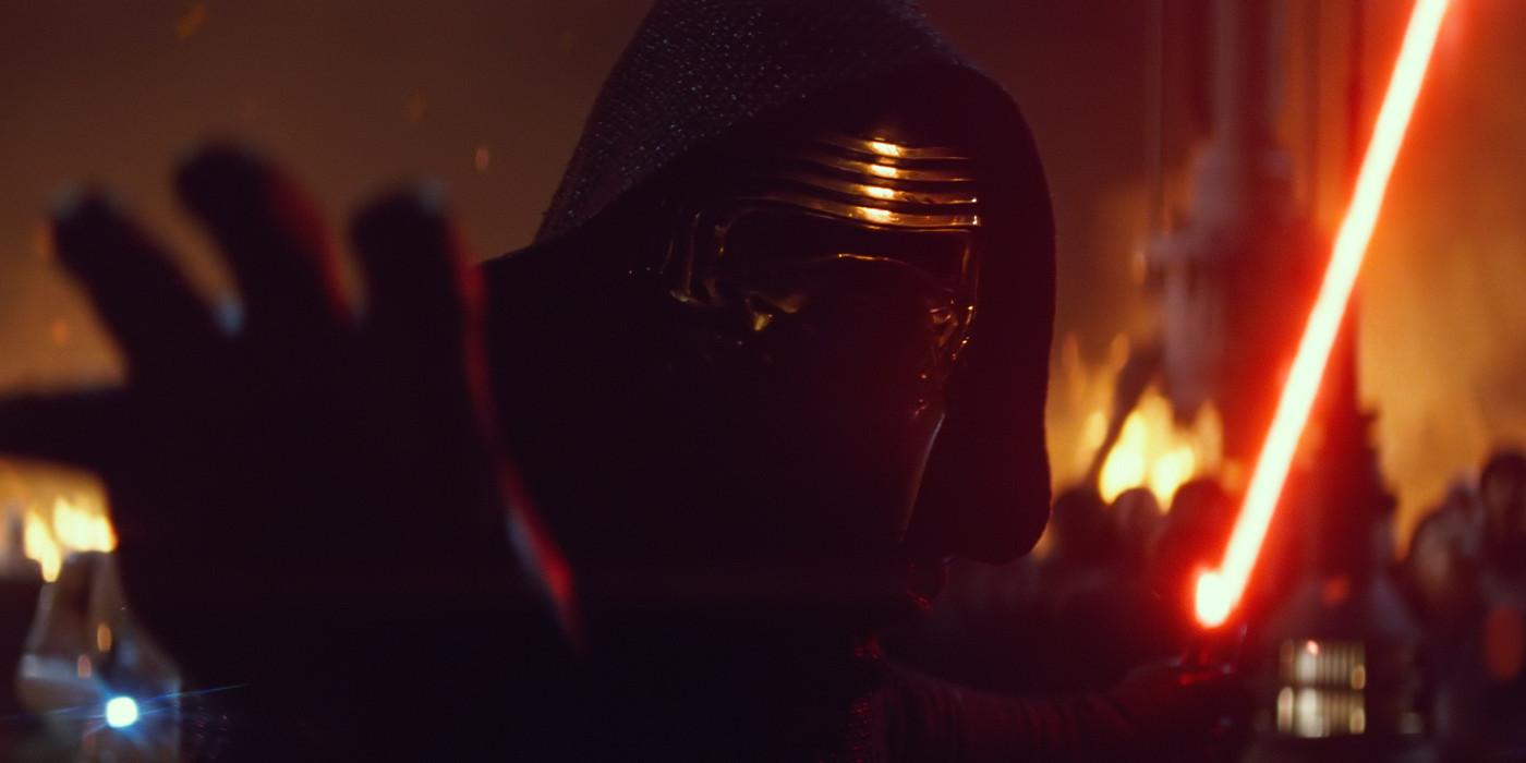 Kylo Ren Stops a Blaster Bolt in Star Wars The Force Awakens