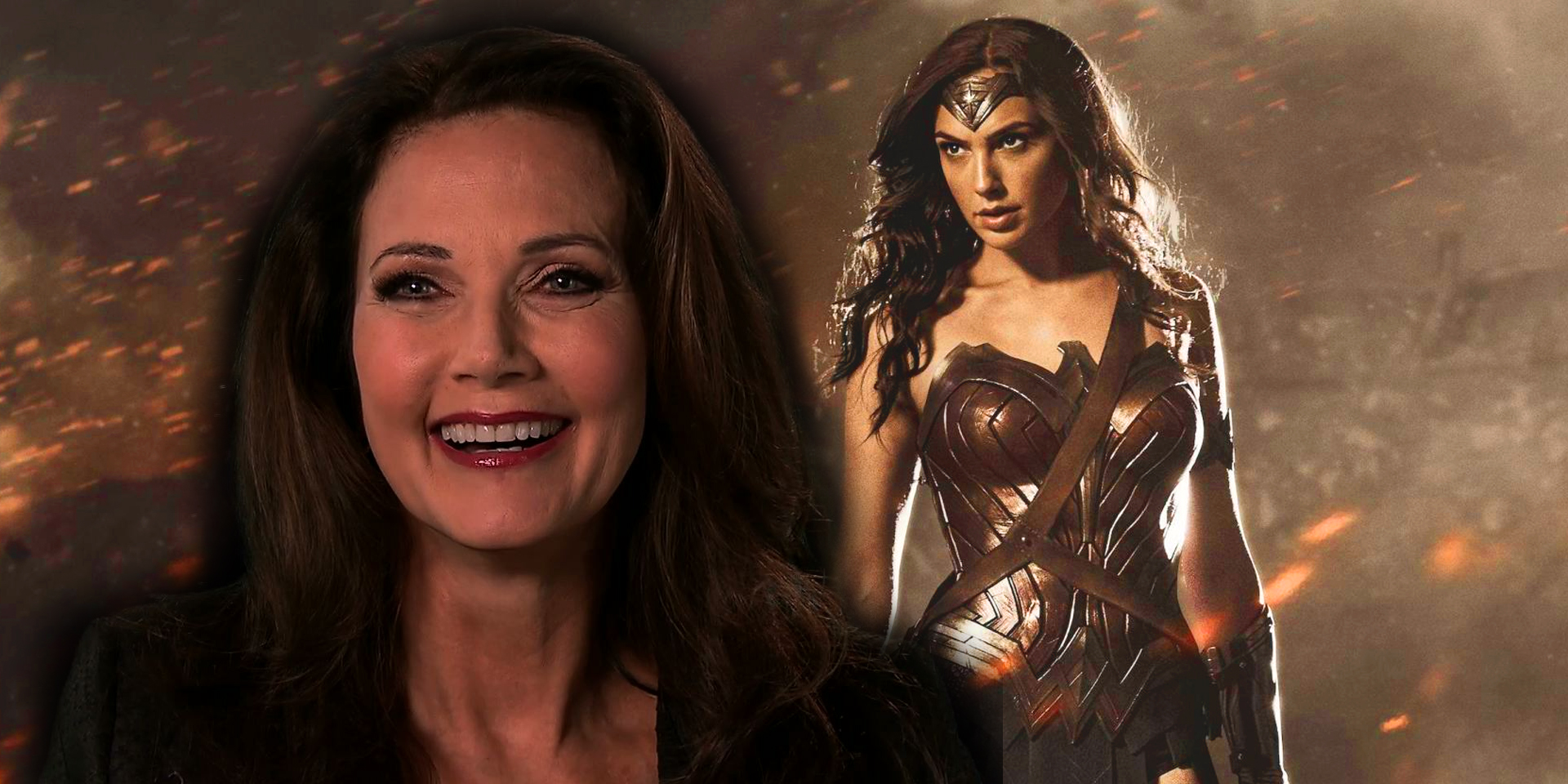 Lynda Carter headshot superimposed over an image of Gal Gadot as Wonder Woman