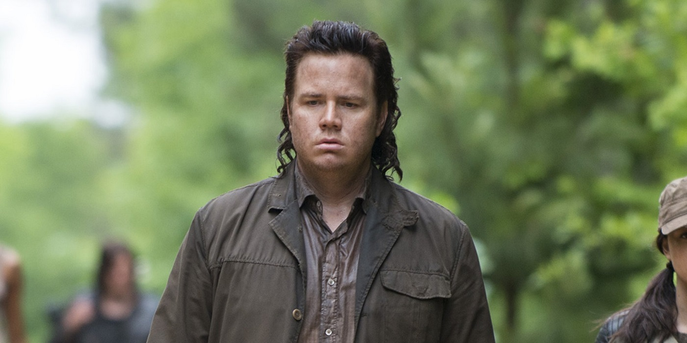 Eugene exploring the wilderness with the survivor group on The Walking Dead