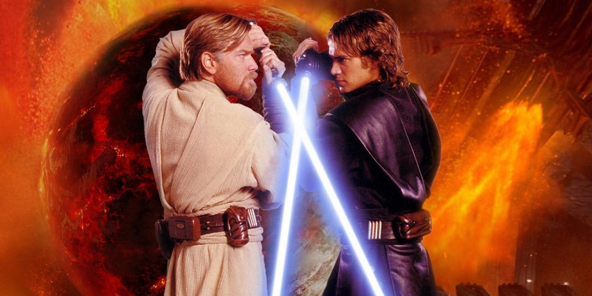 Anakin Skywalker vs Obi Wan Kenobi lightsaber battle in Star Wars Revenge of the Sith