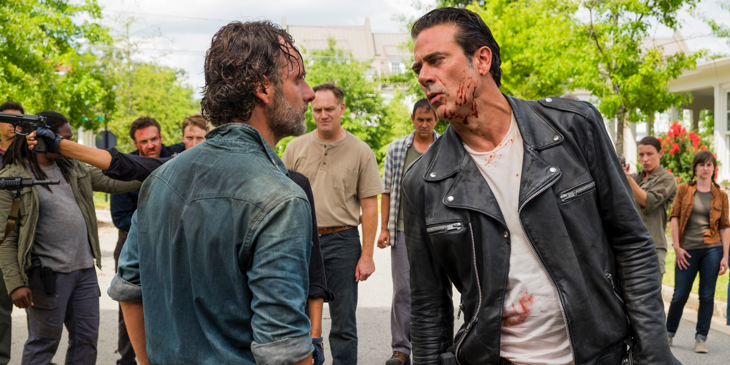 Andrew Lincoln and Jeffrey Dean Morgan in The Walking Dead Season 7 Episode 8