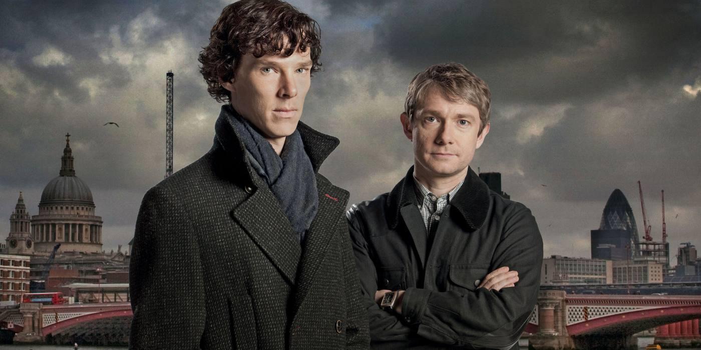 Benedict Cumberbatch as Sherlock Holmes and Martin Freeman as John Watson in Sherlock