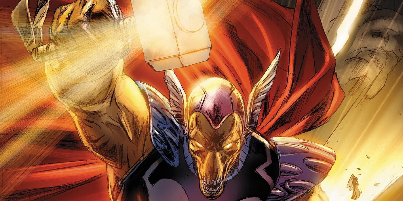 Beta Ray Bill wielding Mjolnir