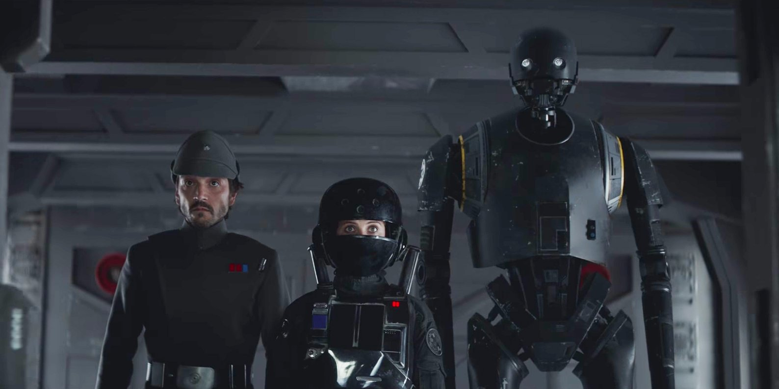 Cassian Andor Jyn Erso and K-2SO in Rogue One A Star Wars Story