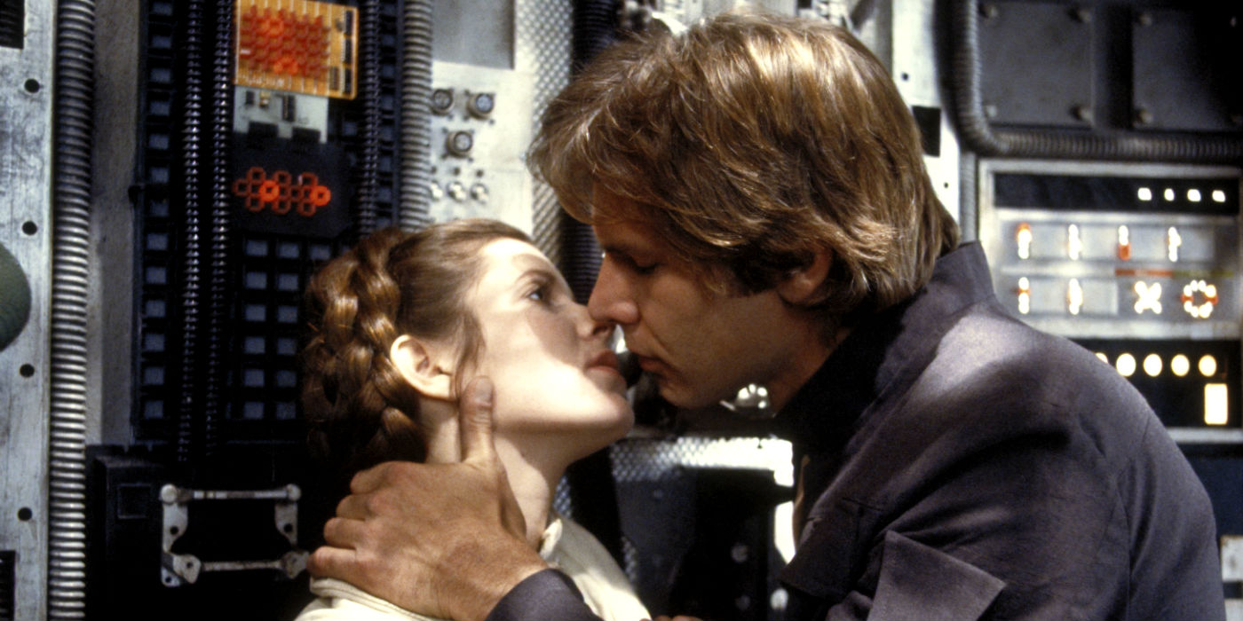 Harrison Ford and Carrie Fisher as Han Solo and Princess Leia in The Empire Strikes Back