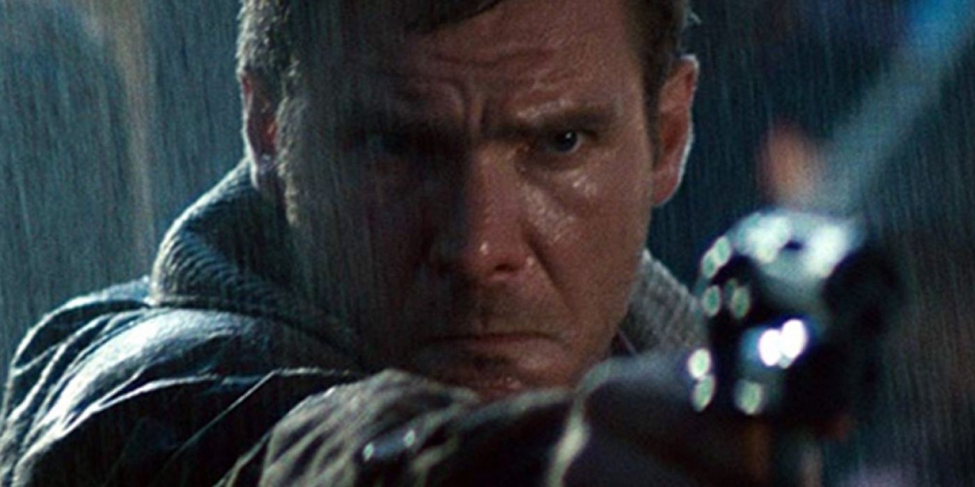 Harrison Ford as Deckard shooting his blaster in Blade Runner