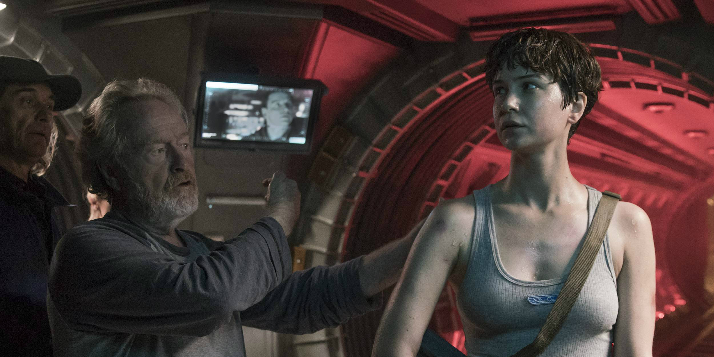 Katherine Waterston and Ridley Scott on Alien Covenant set