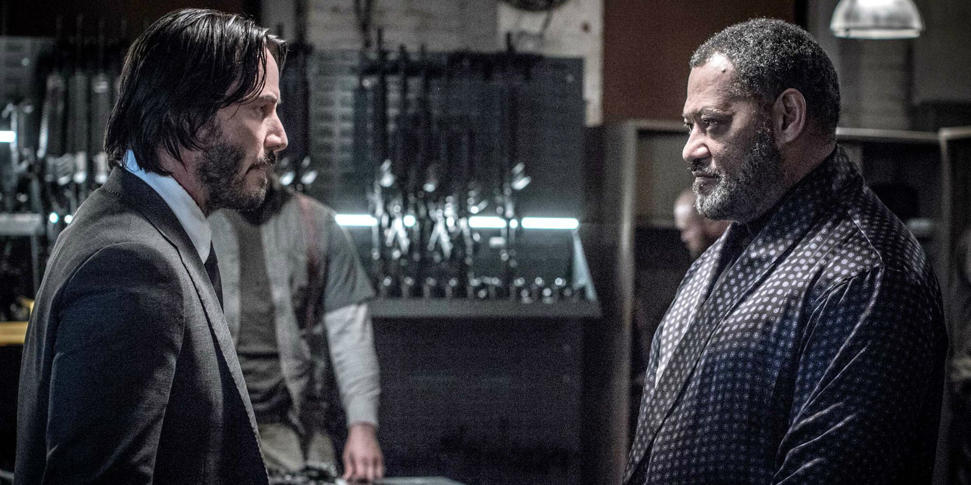 Keanu Reeves and Lawrence Fishburne in John Wick 2 banner