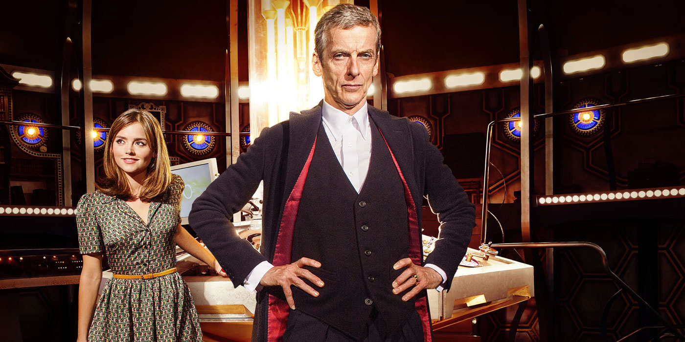 Peter Capaldi and Jenna Coleman as Doctor Who and Clara