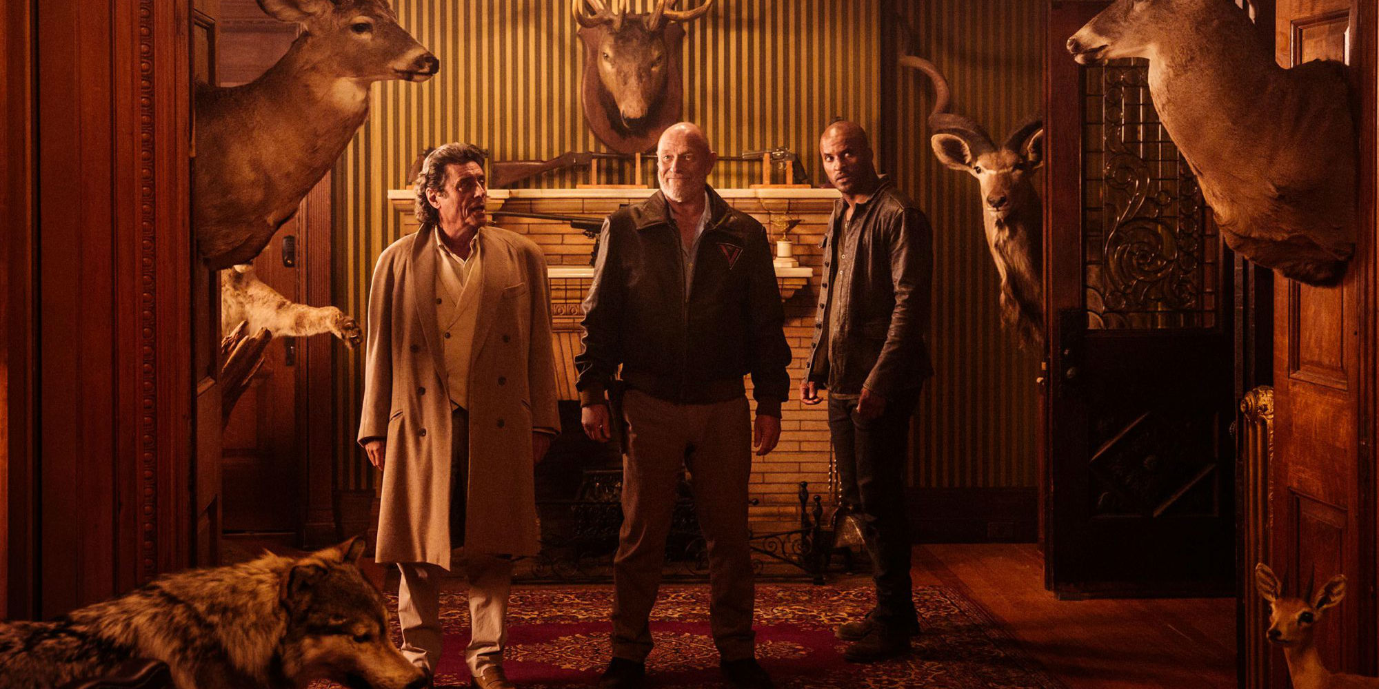 Mr. Wednesday (Ian McShane), Vulcan (Corbin Brensen) and Shadow Moon (Ricky Whittle) in American Gods