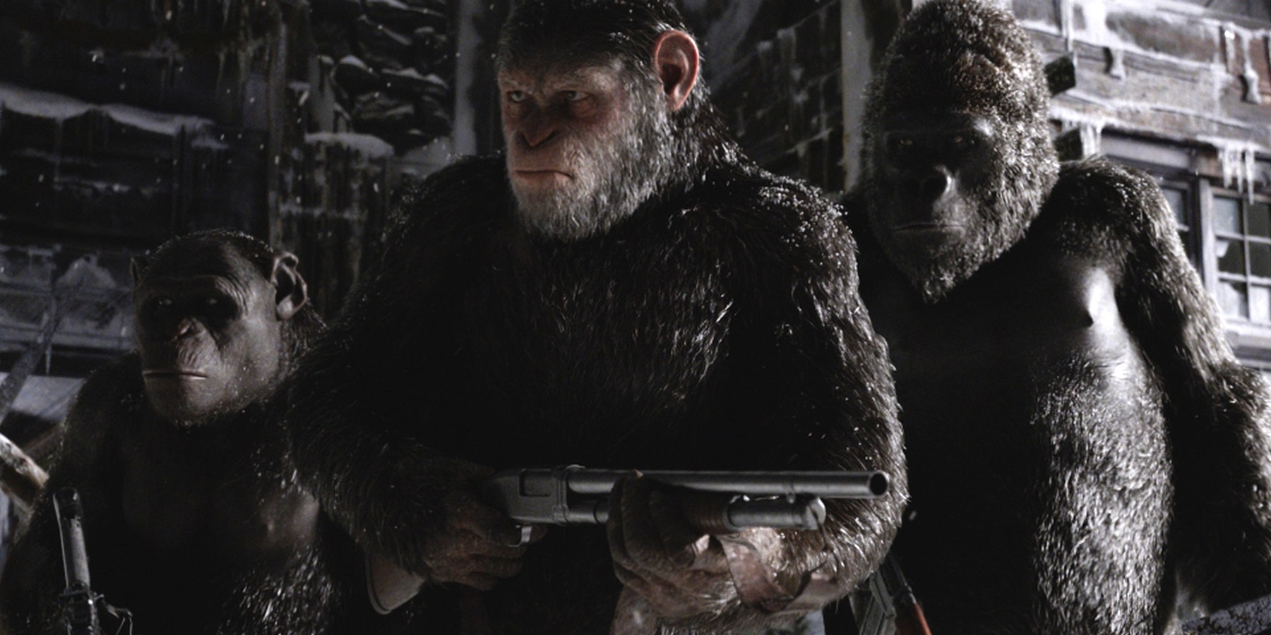 War for the Planet of the Apes - Caesar holding a gun