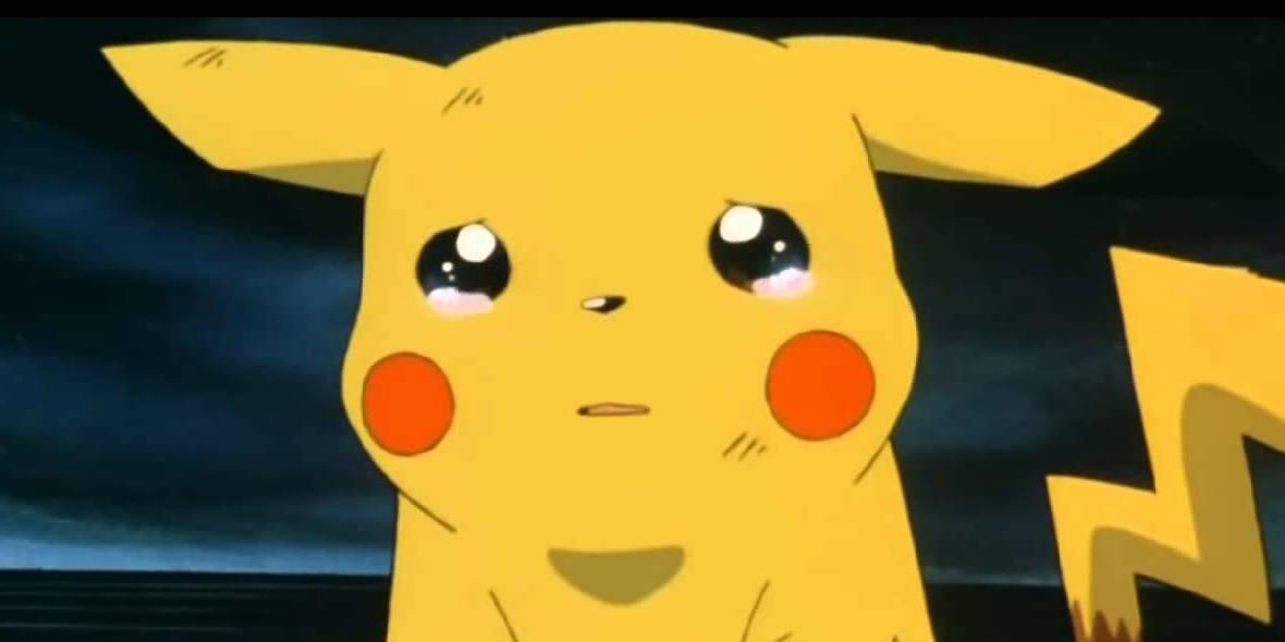 Pikachu from Pokemon sad crying