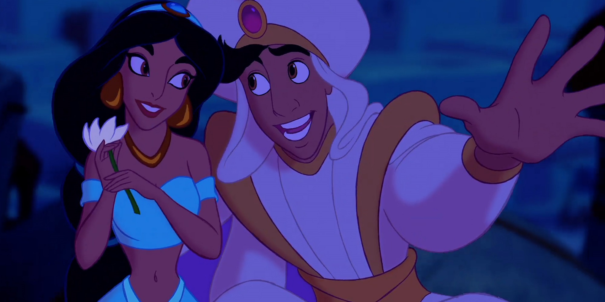 Aladdin and Jasmine on their magic carpet ride