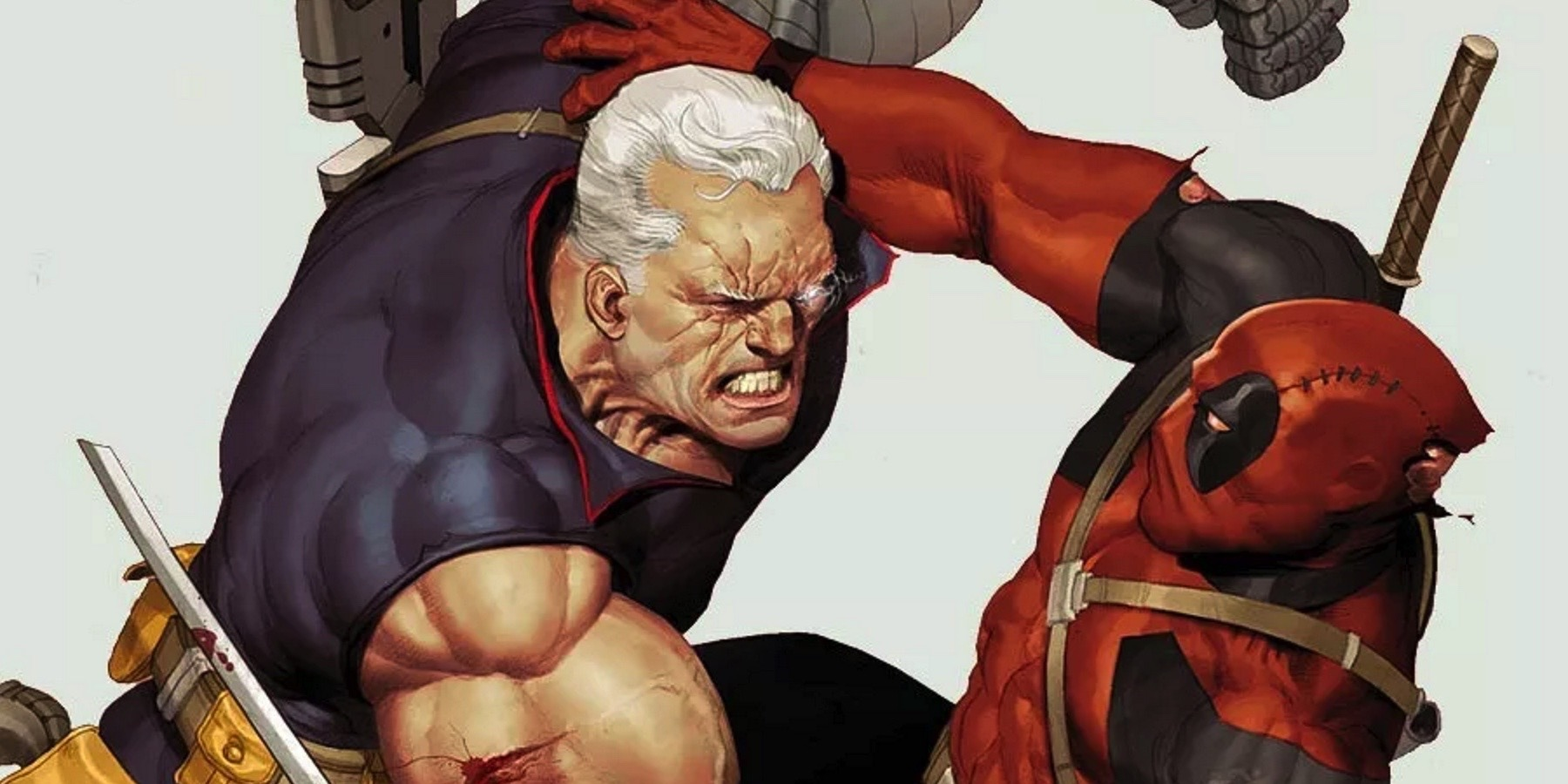 Cable and Deadpool fighting