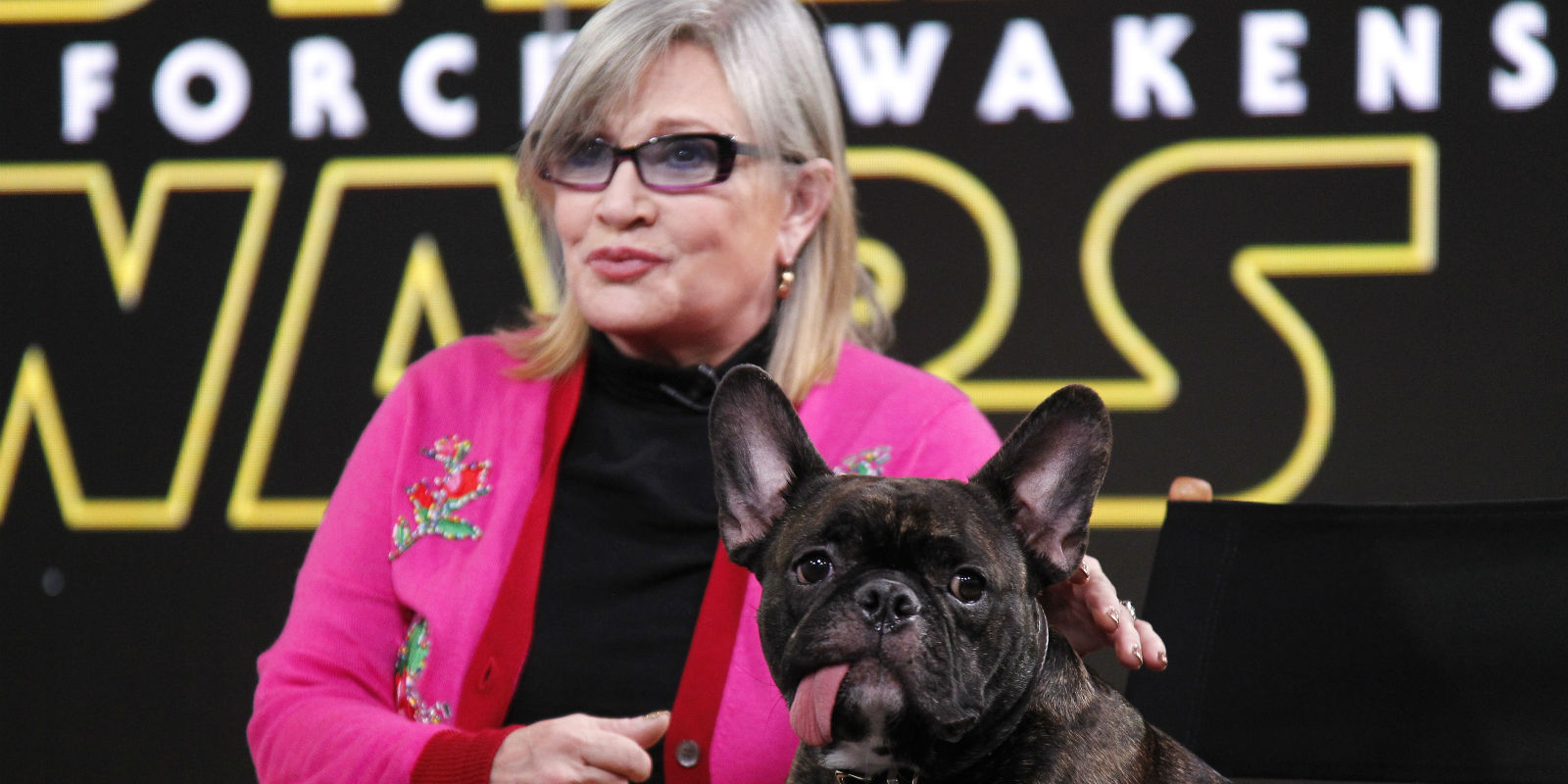 Carrie Fisher and Gary the Dog
