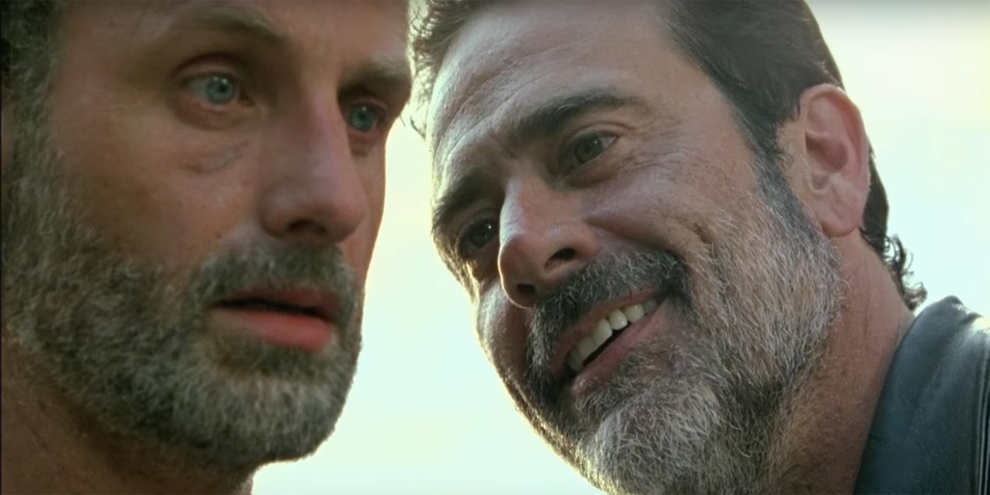 Andrew Lincoln as Rick Grimes and Jeffrey Dean Morgan as Negan in The Walking Dead