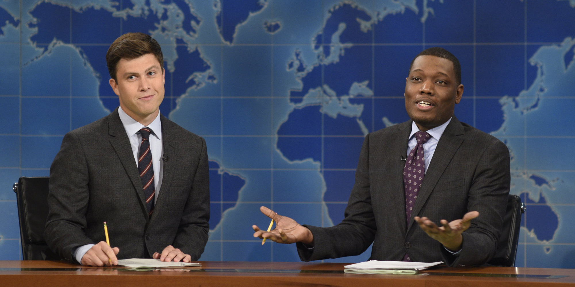 Colin Jost and Michael Che hosting Weekend Update on SNL