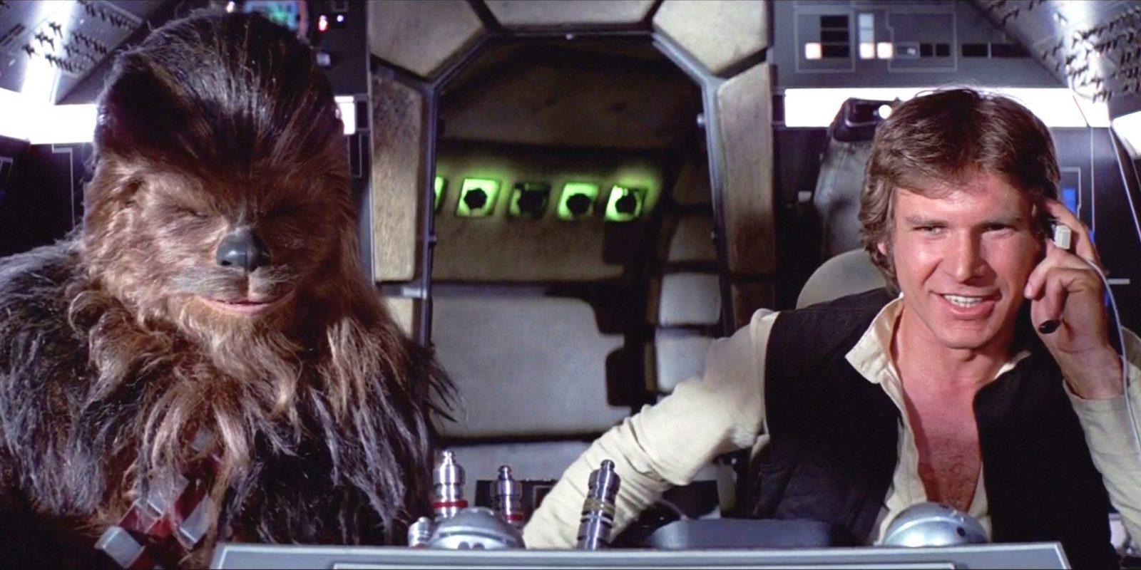 Han Solo and Chewbacca in the Millennium Falcon