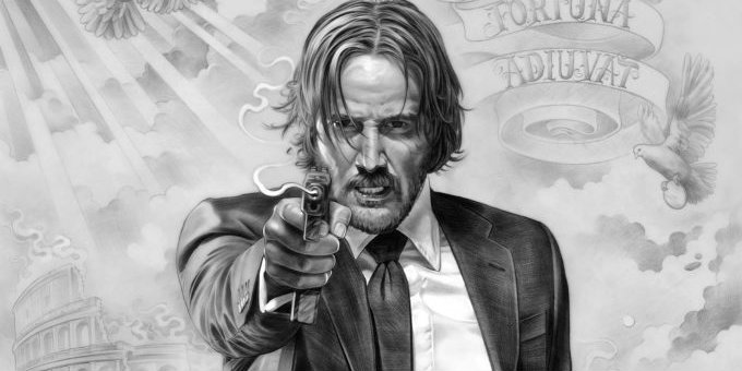 John Wick 2 Poster - Hand-Drawn (cropped)