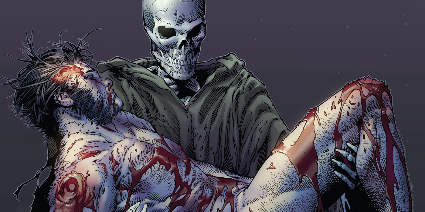 Death of Wolverine #4, Logan finally succumbs to his wounds