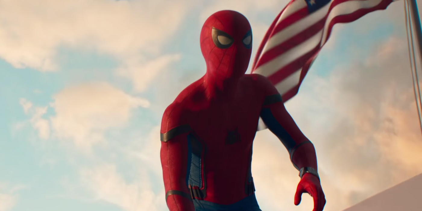 Spider-Man and the US Flag in Homecoming