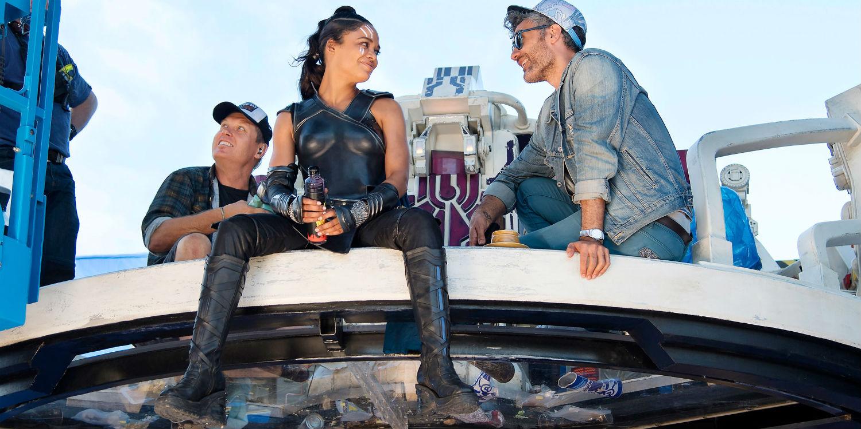 Tessa Thompson and Taika Waititi on the set of Thor Ragnarok