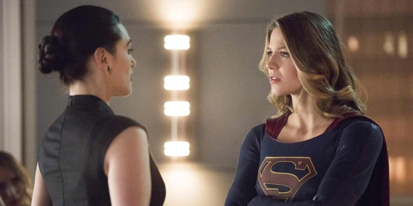Melissa Benoist and Katie McGrath as Kara Danvers and Lena Luthor in Supergirl