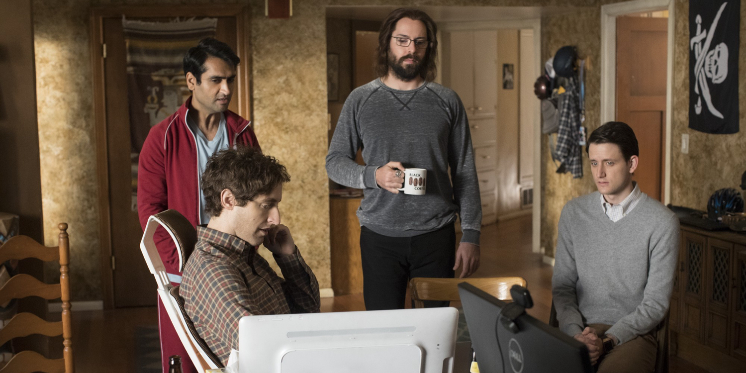 Thomas Middleditch Kumail Nanjiani Martin Starr and Zach Woods in Silicon Valley Season 4
