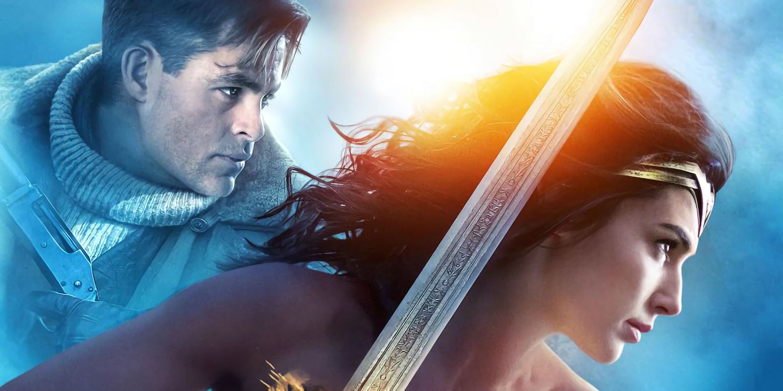 Gal Gadot and Chris Pine in Wonder Woman poster