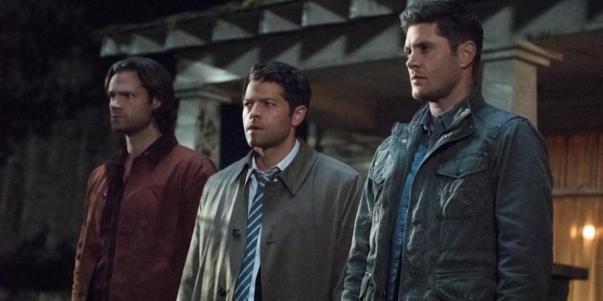 Jared Padalecki Misha Collins and Jensen Ackles in Supernatural Season 12