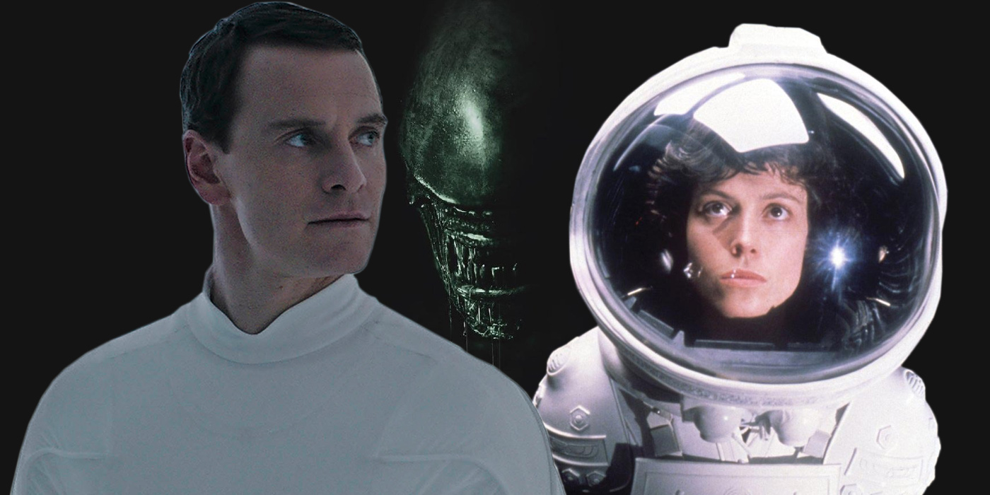 Michael Fassbender as David in Alien Covenant and Sigourney Weaver as Ripley in Alien