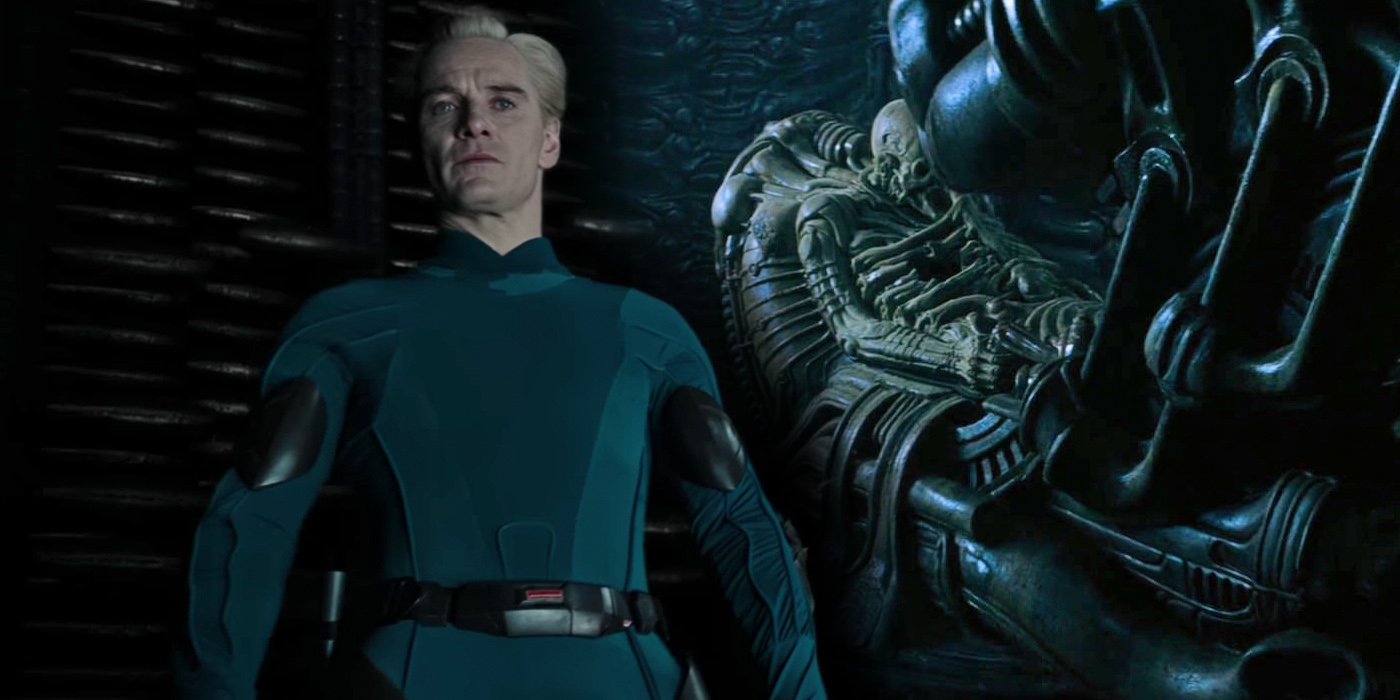 Michael Fassbender as David in Alien Covenant and the Space Jockey from Alien