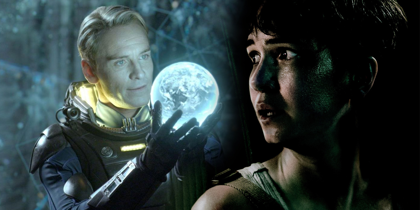 Michael Fassbender as David in Prometheus and Katherine Waterston as Daniels in Alien Covenant