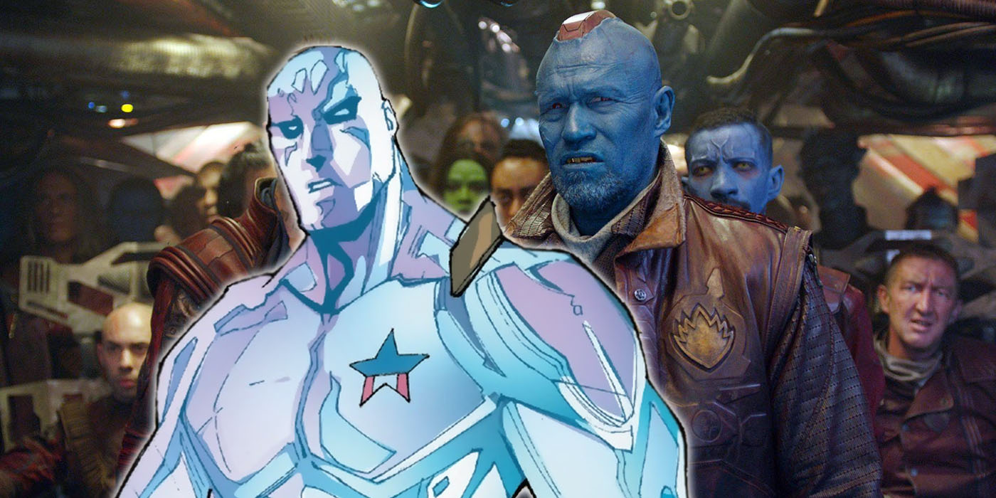 Michael Rooker as Yondu in Guardians of thew Galaxy Vol. 2 with Martinex