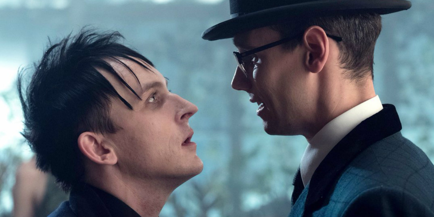 Robin Lord Taylor and Cory Michael Smith in Gotham