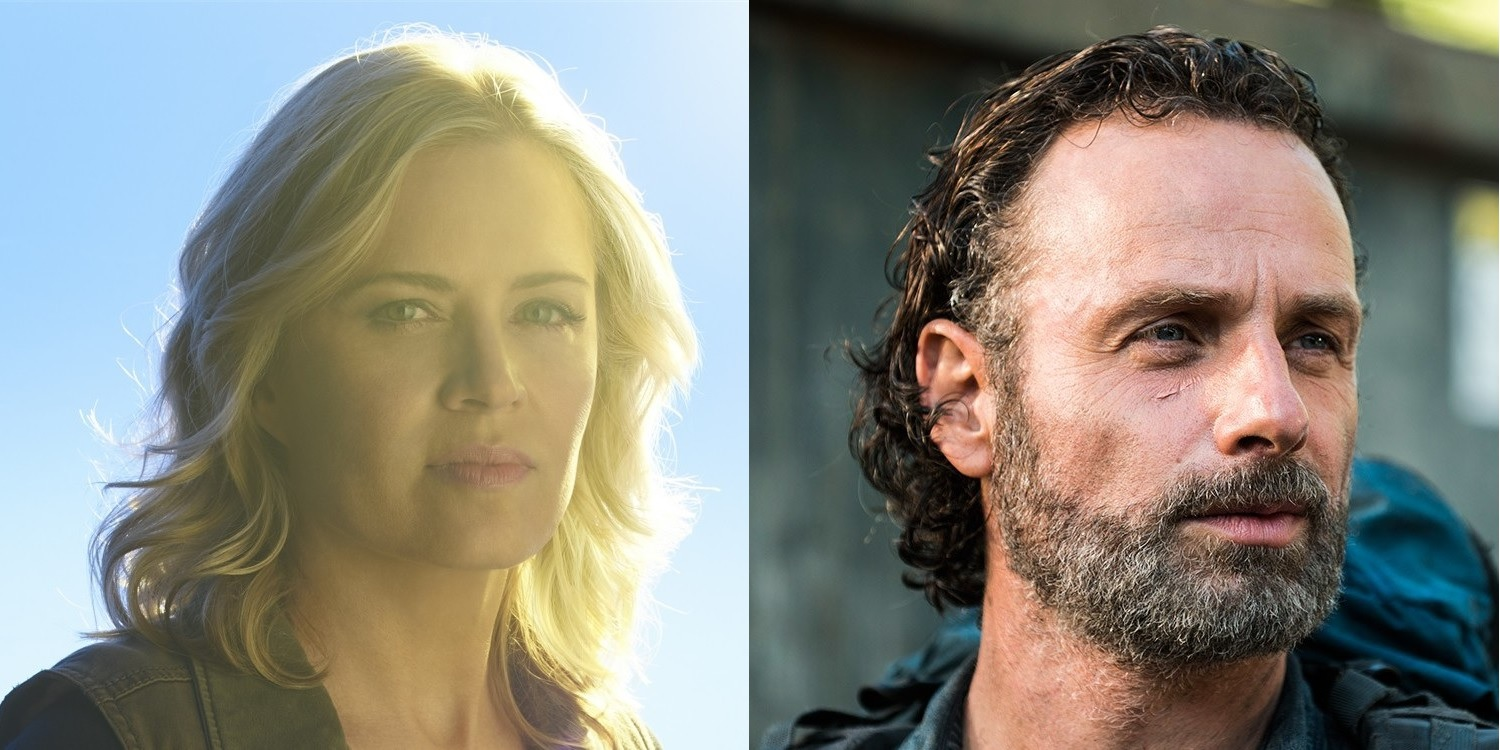 Kim Dickens as Madison Clark in Fear The Walking Dead and Andrew Lincoln as Rick in The Walking Dead