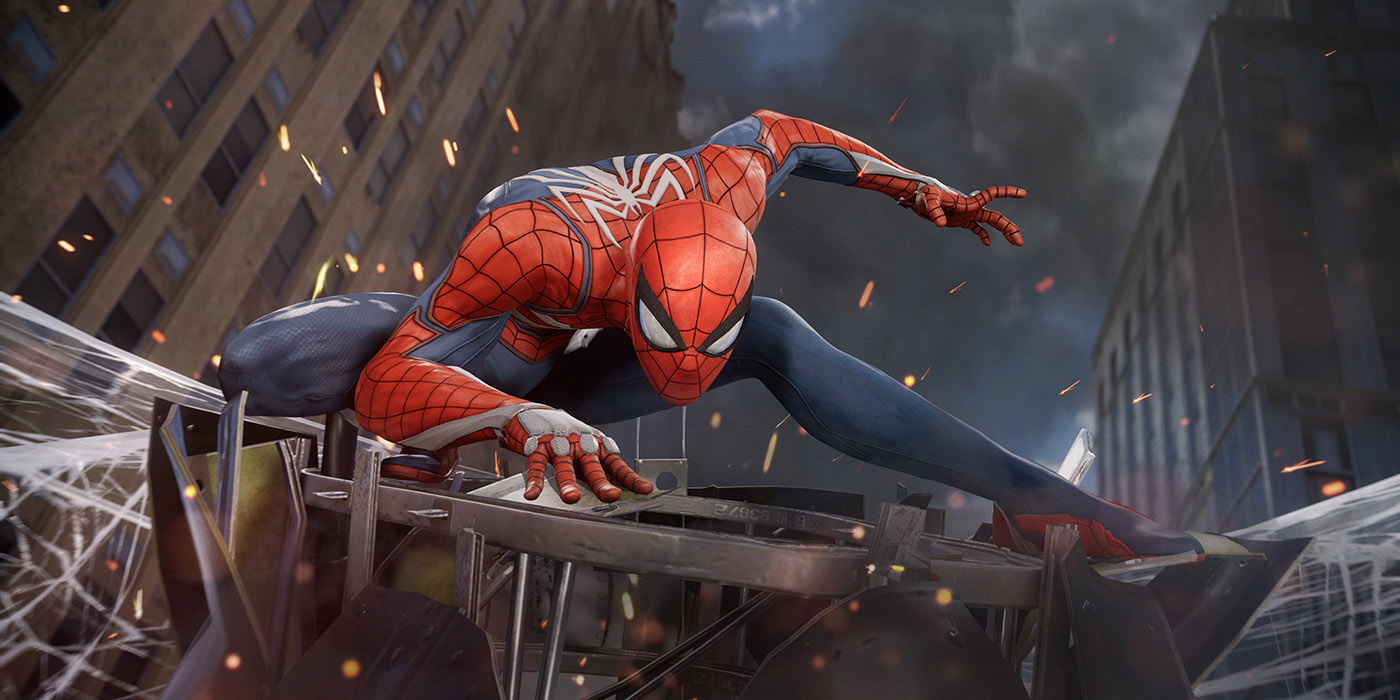 Spider-Man catches a helicopter in Marvel's Spider-Man by Insomniac Games