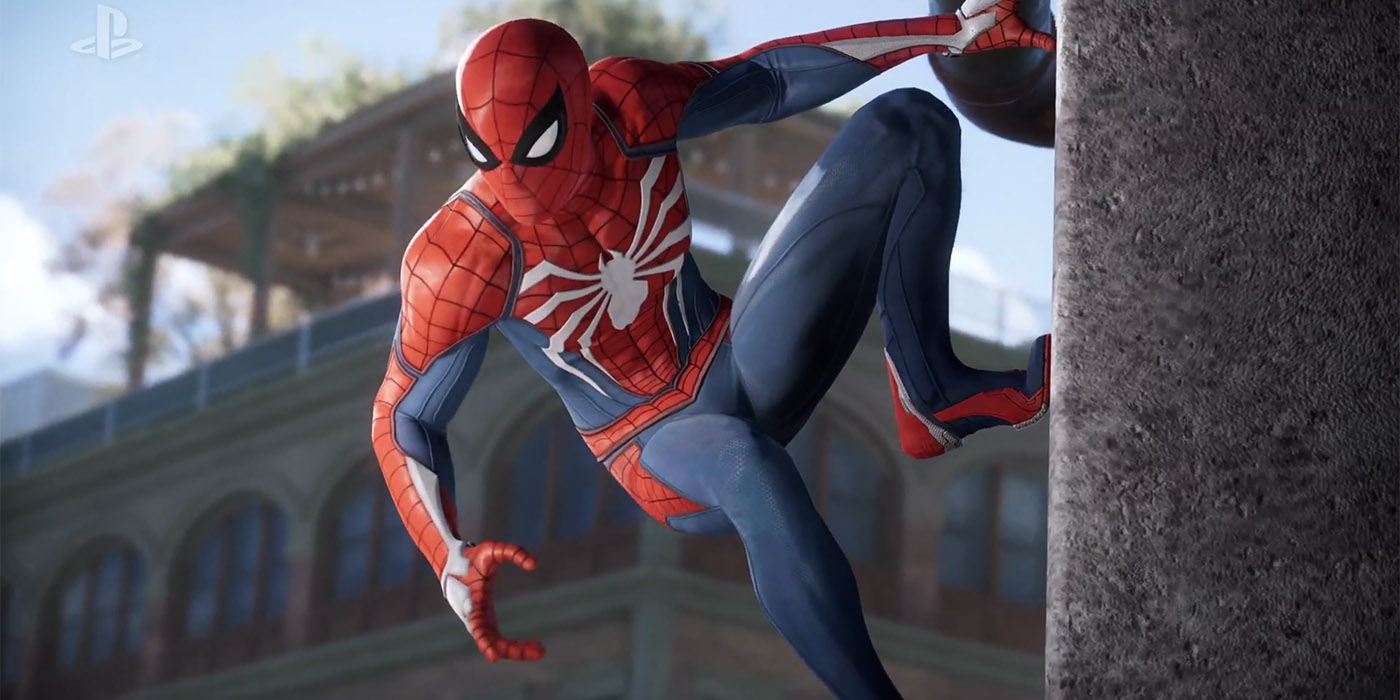 Spider-Man stealthily watches bad guys in Marvel's Spider-Man by Insomniac Games