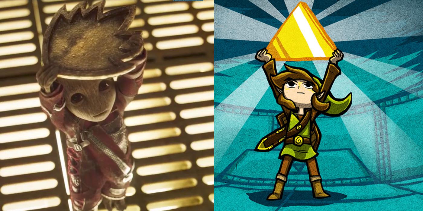 Baby Groot and Link from Zelda