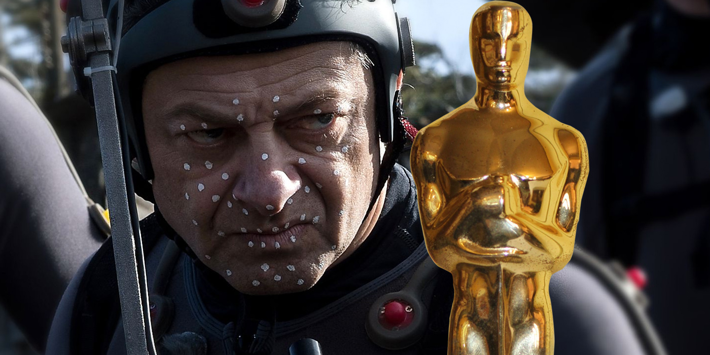 Andy Serkis doing motion capture and an Oscar
