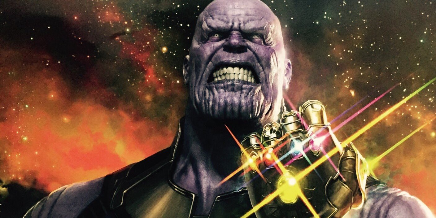 thanos wields the infinity gauntlet in d23 poster