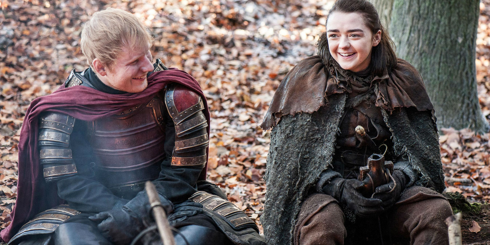 Ed Sheeran and Maisie Williams in Game of Thrones
