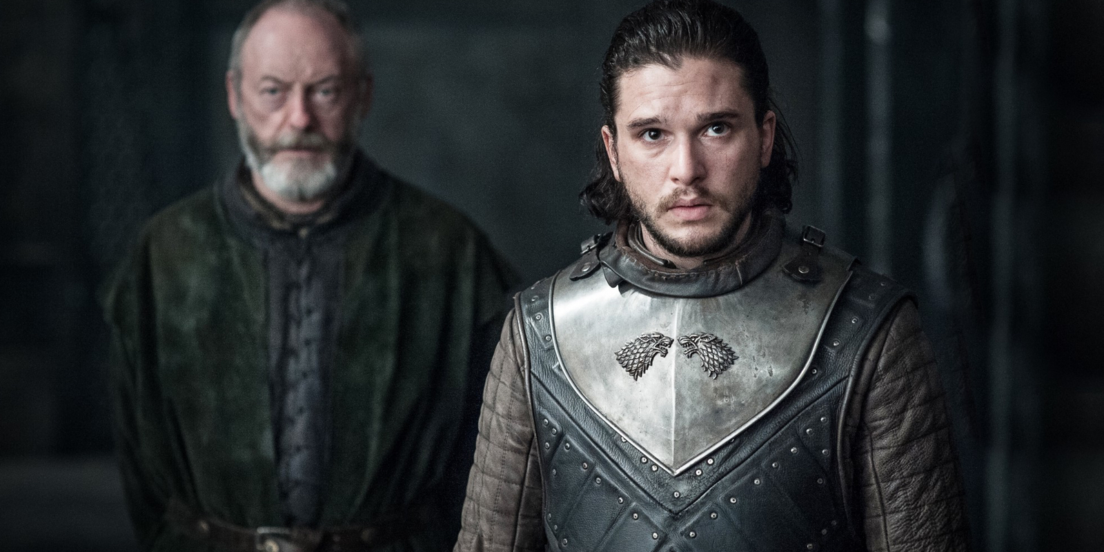 Liam Cunningham and Kit Harington in Game of Thrones Season 7 Episode 3