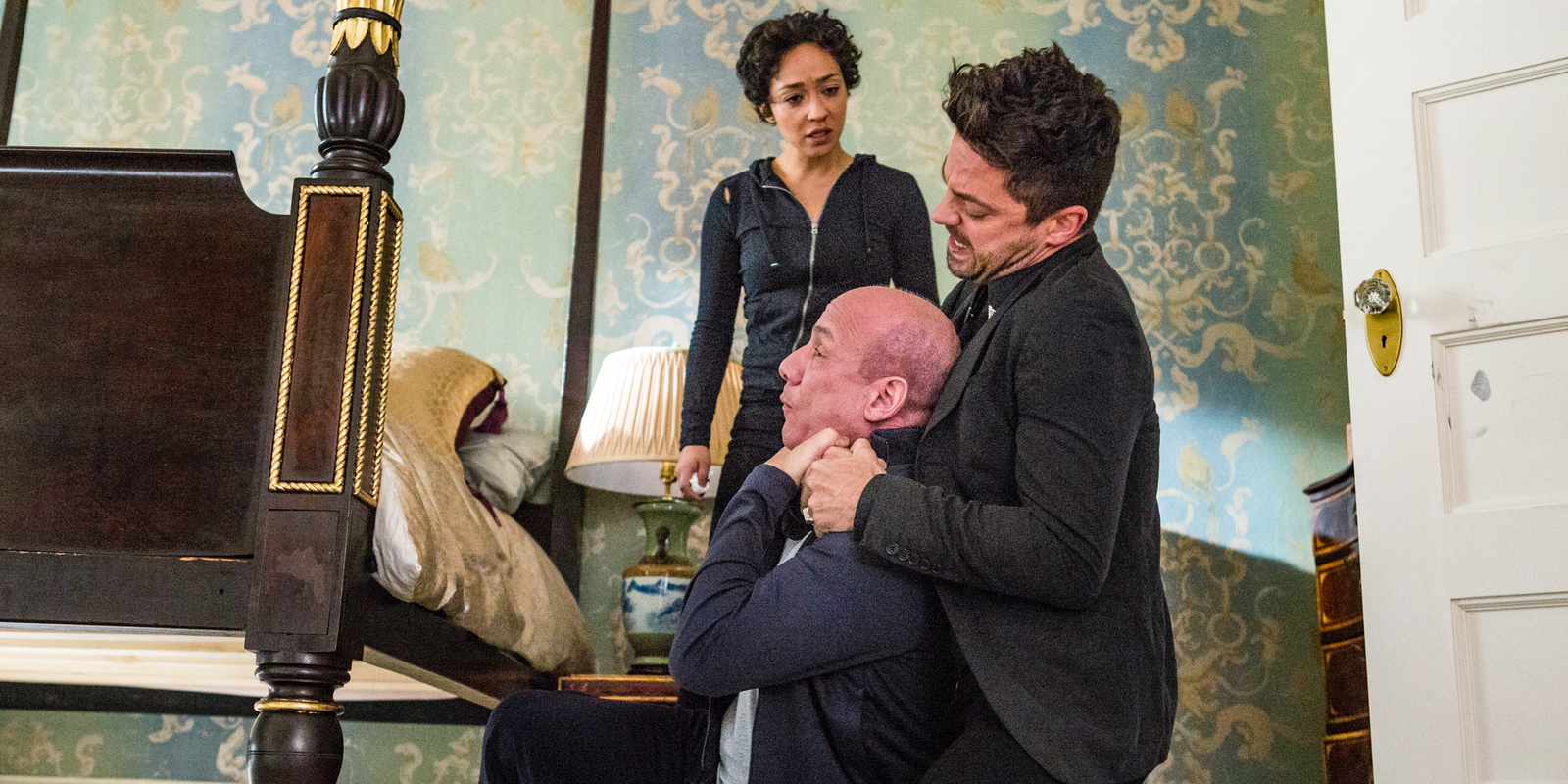 Ruth Negga Paul Ben Victor and Dominic Cooper in Preacher Season 2 Episode 5