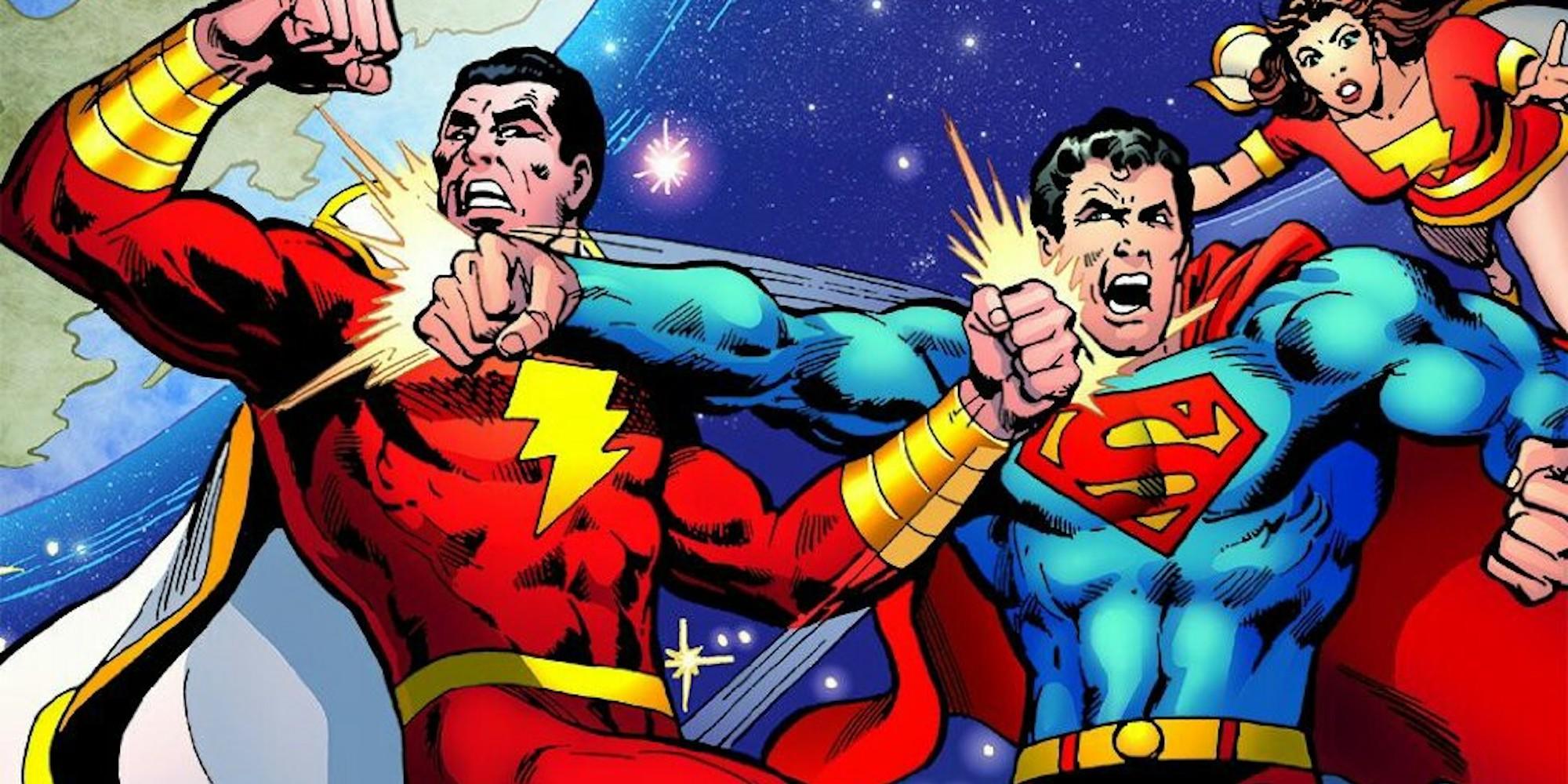 Shazam Fighting Superman Jason Momoa Aquaman Justice League