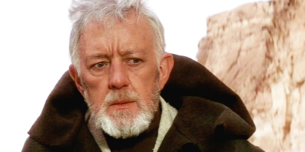 Sir Alec Guinness as Obi Wan Kenobi in Star Wars A New Hope