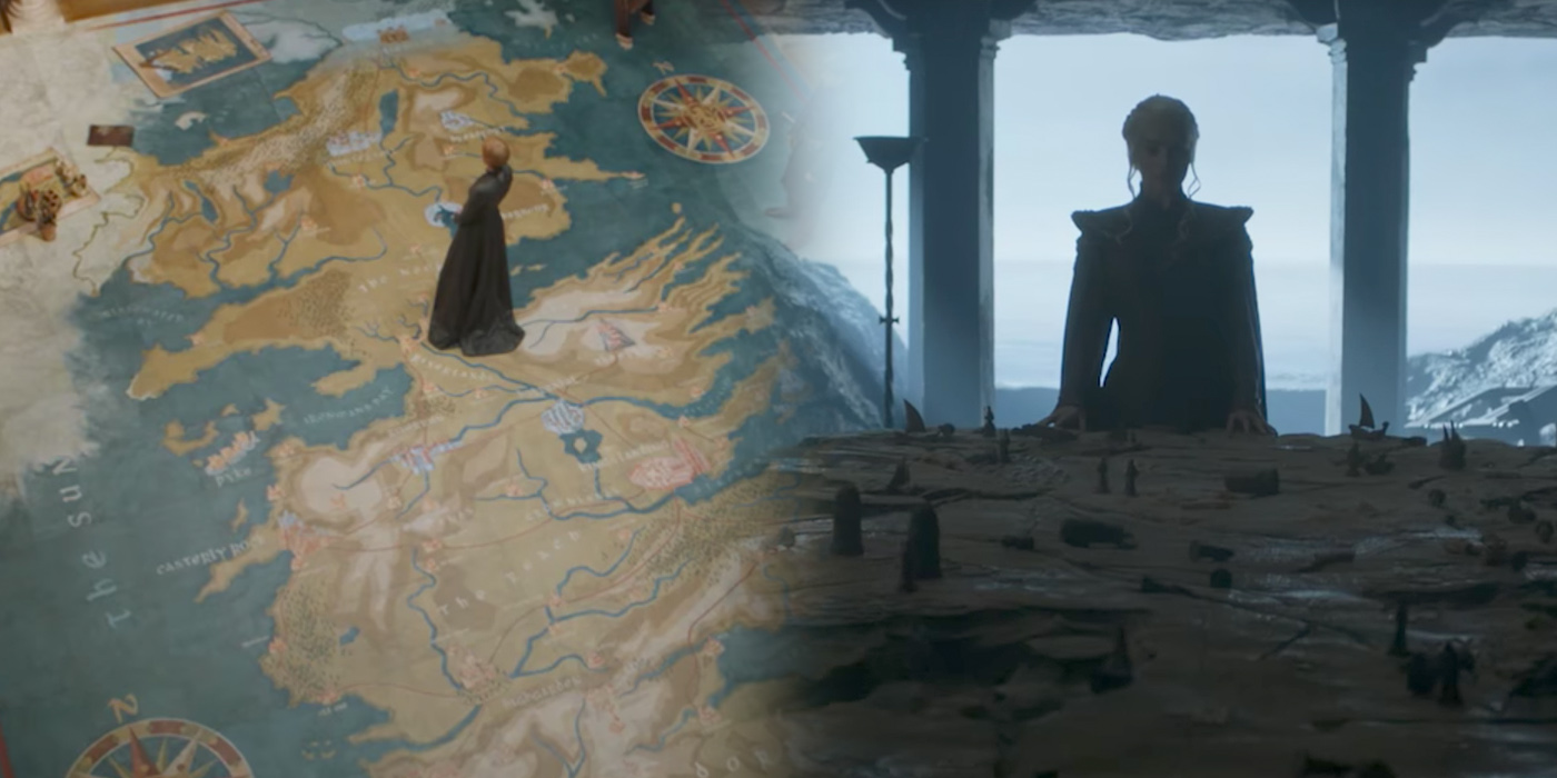 Cersei and Dany look at their maps in Game of Thrones