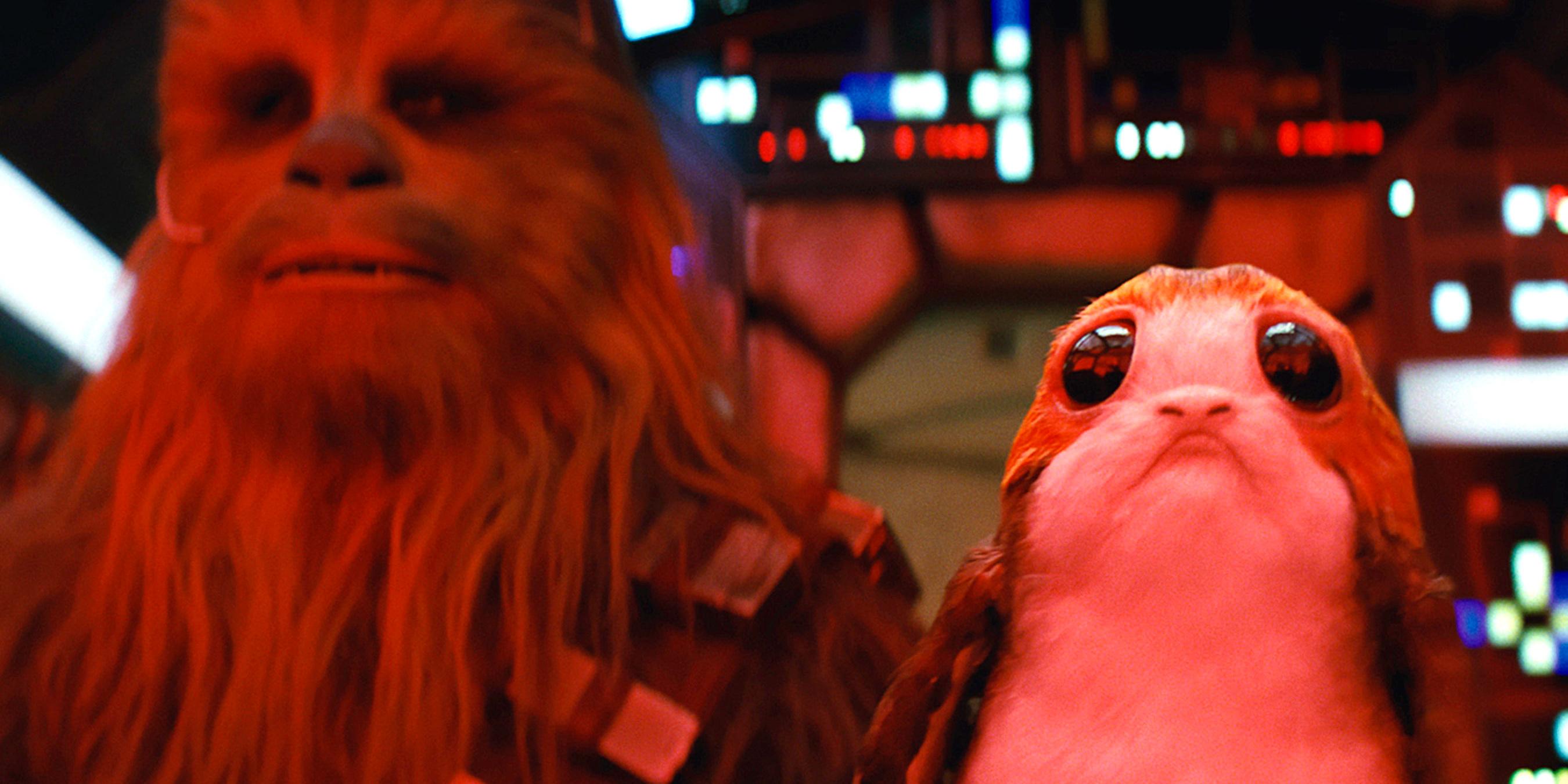Chewbacca and a Porg in the Millennium Falcon in Star Wars The Last Jedi